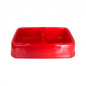 Plastik İkili Kedi Köpek Mama Su Kabı 250 + 250 Ml Kırmızı