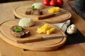 Bambum Molida 4 Parça Steak Tahtası Ve Bıçak Seti