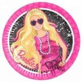 Barbie Siyah Kağıt Tabak 23 Cm 8 Adetli