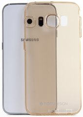 Samsung Galaxy S6 Edge Şeffaf Gold Silikon Kılıf
