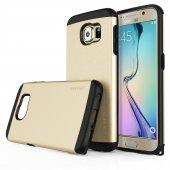 Usams U Series Samsung Galaxy S6 Rubber Kapak Gold Tam Koruma