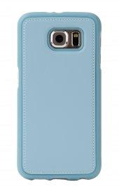 Samsung Galaxy S6 Edge Deri Görünümlü Mavi Kılıf