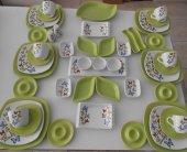 Keramika Yeşil Butterfly Kahvaltı Takımı 43 Parca