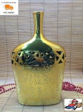 Ksv Altın Sarısı Vazo Dekoratif Aksesuar 35x23 Cm.