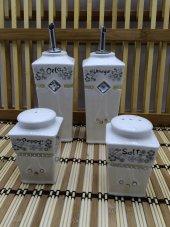Zücev 4 Lü Yağlık Sirkelik Tuzluk Seti Porselen