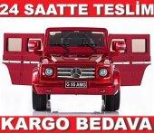 Lisanslı Mercedes G55 Akülü Jeep Akülü Araba Gerçek Araç Boyası 12v Çift Motor Bordo
