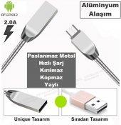 2.4a Metal Yaylı Android Ve İos Hızlı Şarj Kablosu Usb Data