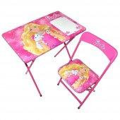 Barbie Çocuk Ders Çalışma Masası Kalemlikli Masa Sandalye Seti
