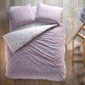 Hibboux 160x220 Dream Like A Star Ranforce Tek Kişilik Nevresim Takımı Lavender Grey