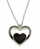 925 Ayar Gümüş Kalp Anahtar Kolye, Beyaz Siyah Taş