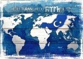 Harita Dünya Mavi Ahşap Eskitme Tablo Ev,cafe,ofis Dekorasyonu