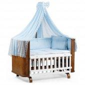 Tahterli Milan Bebek Beşik Karyola 70x130 (Beyaz) Mavi