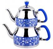 özkent 332 Symbol Orta Desenli Çaydanlık Mavi