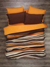 Kupon Tek Kişilik Örgü Battaniye Kahve Oranj