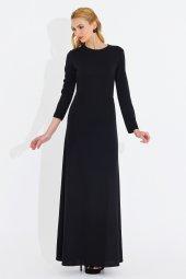 Nidya Moda Büyük Beden Klasik Uzun Siyah Elbise 4043s