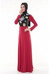Nidya Moda Tesettür Üst Bahar Kombin Kırmızı Uzun Abiye Elbise 4046k