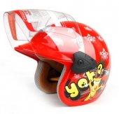 Motorsiklet Kaskı Çocuk Kaskı Kırmızı Renk Yarım Kask