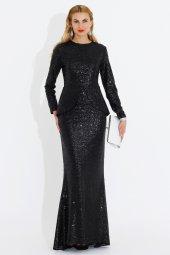 Nidya Moda Büyük Beden Peplum Pullu Payet Uzun Balık Abiye Siyah Elbise 4047s
