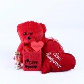 Sevgiliye Özel Kırmızı Ayıcıklı Romantik Aşk Kutusu