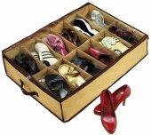 12 Bölmeli Portatif Ayakkabı Saklama Hurcu Shoes Under Hurç