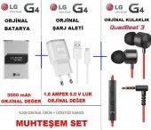 Lg G4 Batarya Pil + Şarj Aleti Usb + Quadbeat 3 Kulaklık Set