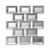 Vitale Metal Tokmaklı Gümüş Dekoratif Geometri Ayna
