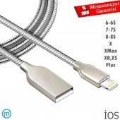 Apple İphone 5, 6, 7, 8, X, Plus Metal Yaylı Usb Hızlı Şarj Kablo