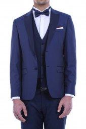 Ceket Desenli Yelek Pantolon Düz Mavi Damatlık Takım Elbise