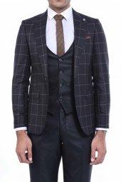 Ceket Ekose Pantolon Yelek Düz Yelekli Siyah Takım Elbise