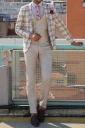 Ceket Ekose Pantolon Yelek Düz Bej Takım Elbise