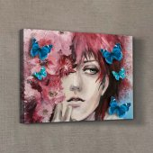 Girl İn The Flowers 50x35 Cm 3d Kanvas Tablo
