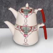 Cooker Porselen Çaydanlık Seti Kırmızı