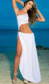 Merry See Metal Aksesuarlı Uzun Beyaz Elbise