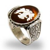 Besen Gümüş Bağa Üzerine Sedef Kakma Selçuklu Kartalı El İşi Yüzük