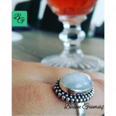 Besen Gümüş Doğal Aytaşı Oval Elyapımı Kadın Yüzük
