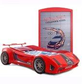 Farinay Lamborgini Arabalı Yatak Ve Özel Tasarım 3 Kapılı Kırmızı Garage Racer Giysi Gardrobu Ses Işık Efektli