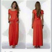 Kadın Belden Bağlı Kısa Kol Mercan Elbise