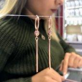 Tek Çubuk Sallantılı Stil Tarz Yeni Rosegold Gümüş Küpe