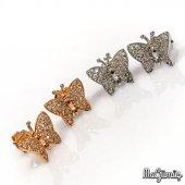 Yeni Minik Çivili Kelebek Gümüş Küpe Renk Seçenekli