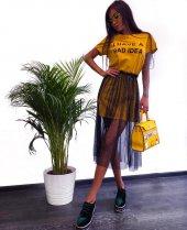 Kadın İncili Sarı Tasarım Tunik