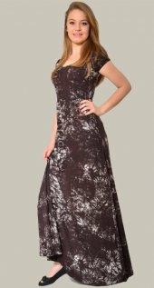 Kadın Uzun Kol Kahverengi Batik Elbise
