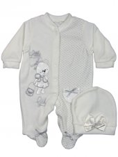 Pearly Baby Ayıcıklı Fiyonklu Kadife Bebek Tulum 0 3 6 9 Ay