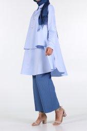 Mavi Yakalı Volanlı Tunik 51327