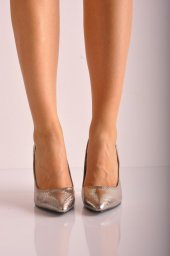 Bayan Stiletto Ayakkabı 5041 Noktalı Platin2