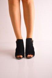 Bayan Günlük Topuklu Ayakkabı 60 Siyah Süyet Platin