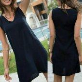 Japon Style Bayan Yazlık Siyah Elbise Kadın Plaj Elbisesi