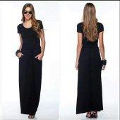 Kadın Belden Bağlı Kısa Kol Siyah Elbise