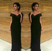 Kadın Siyah Düşük Omuz Abiye Elbise