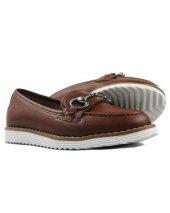Taba Renk Deri Tokalı Günlük Bayan Klasik Ayakkabı