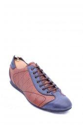 Deri Lacivert Taba Bağcıklı Ayakkabı